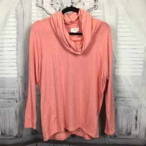 Lou & Grey Salmon Cowl Neck Sweater S
